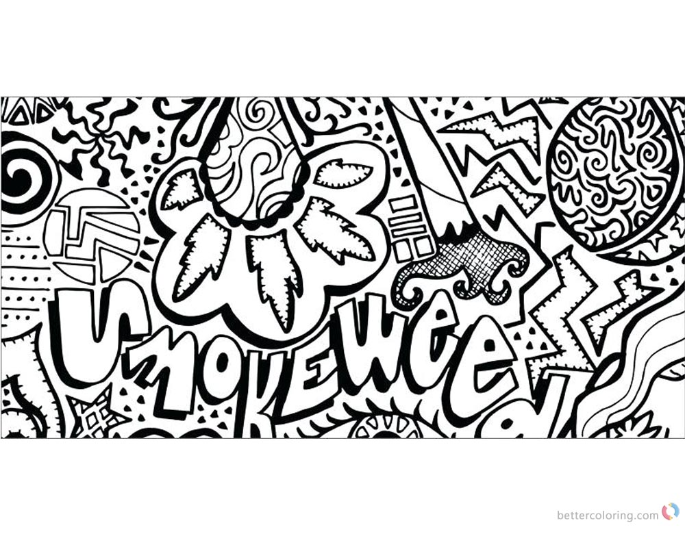 Weed Coloring Pages Tattoos printable for free