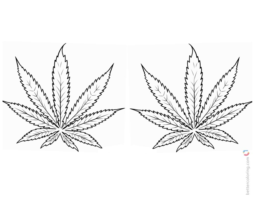 Weed Coloring Pages Two Marijuana Leaves printable for free
