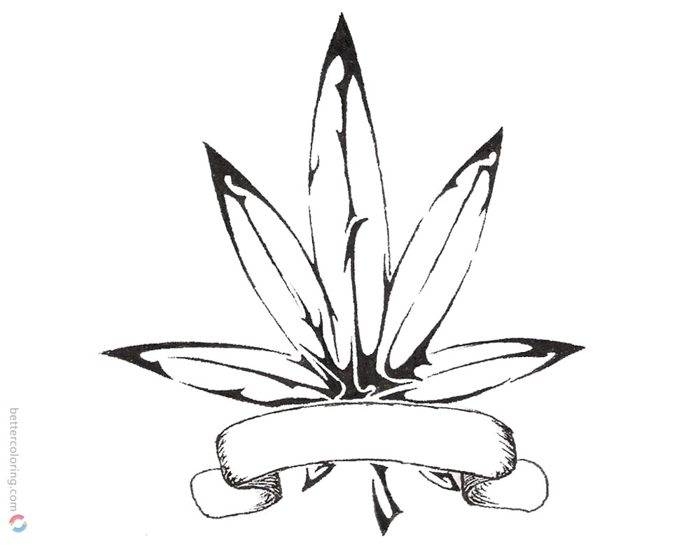 Weed Coloring Pages Weed Tattoos printable for free