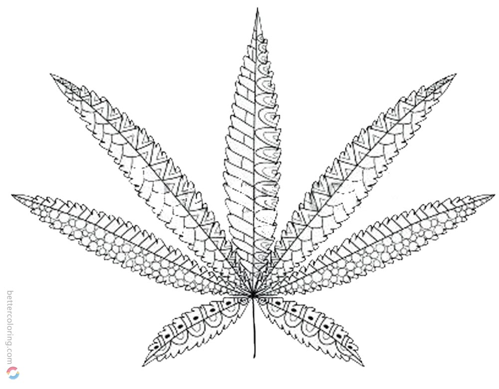 Weed Leaf Coloring Pages Cannabis Leaf Tattoos printable for free