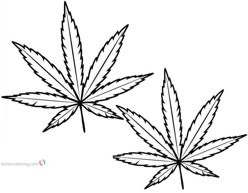 Weed Leaf Coloring Pages Marijuana Leaf Free Printable