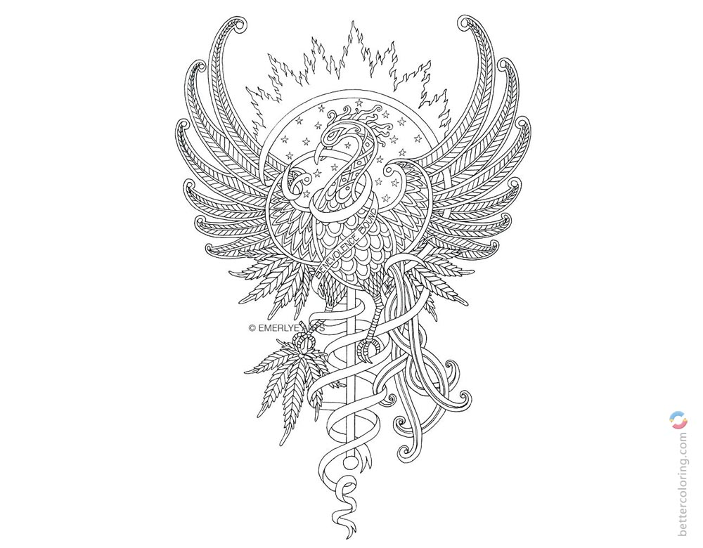 Weed Tattoos Coloring Pages - Free Printable Coloring Pages