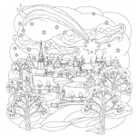 Adult Coloring Pages of Christmas Little Town