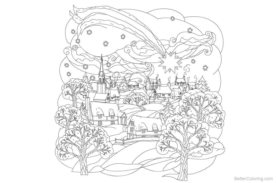 Adult Coloring Pages of Christmas Little Town printable for free