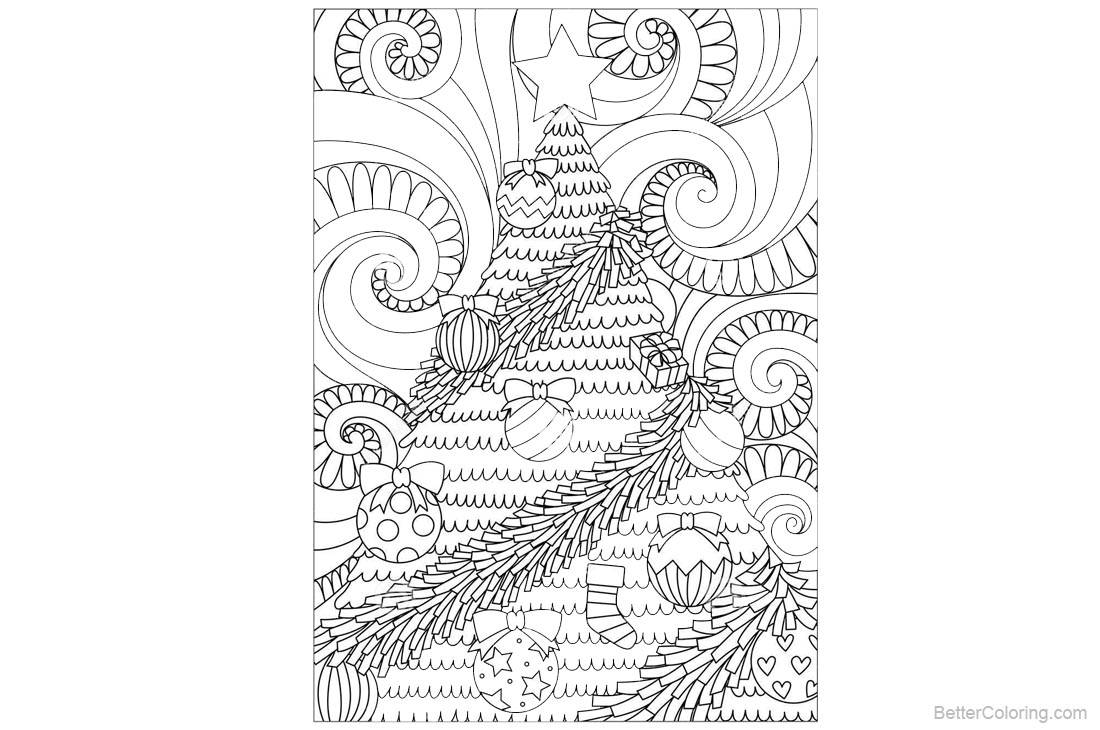 Adult Coloring Pages of Christmas Tree Pattern printable for free