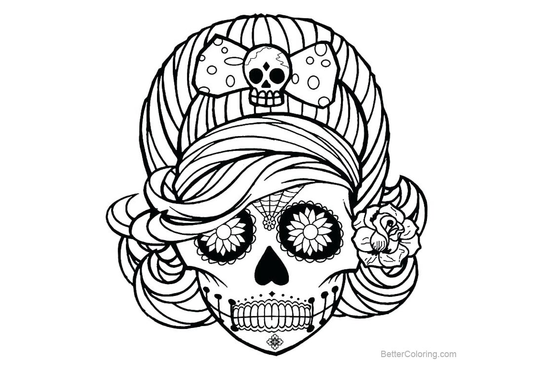 Adults Female Sugar Skulls Coloring Pages Free Printable