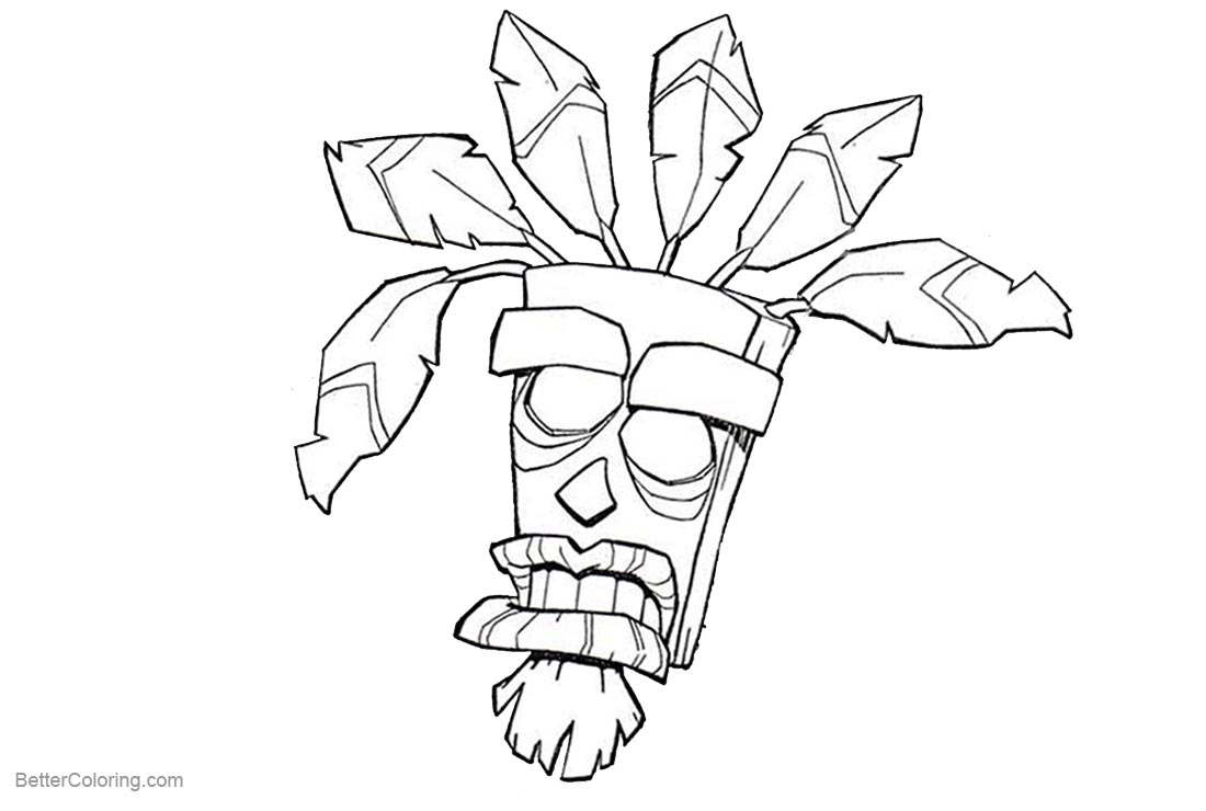 Aku aku from crash bandicoot coloring pages free for Crash bandicoot coloring pages