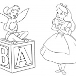 Alice in Wonderland Coloring Pages with Fairy