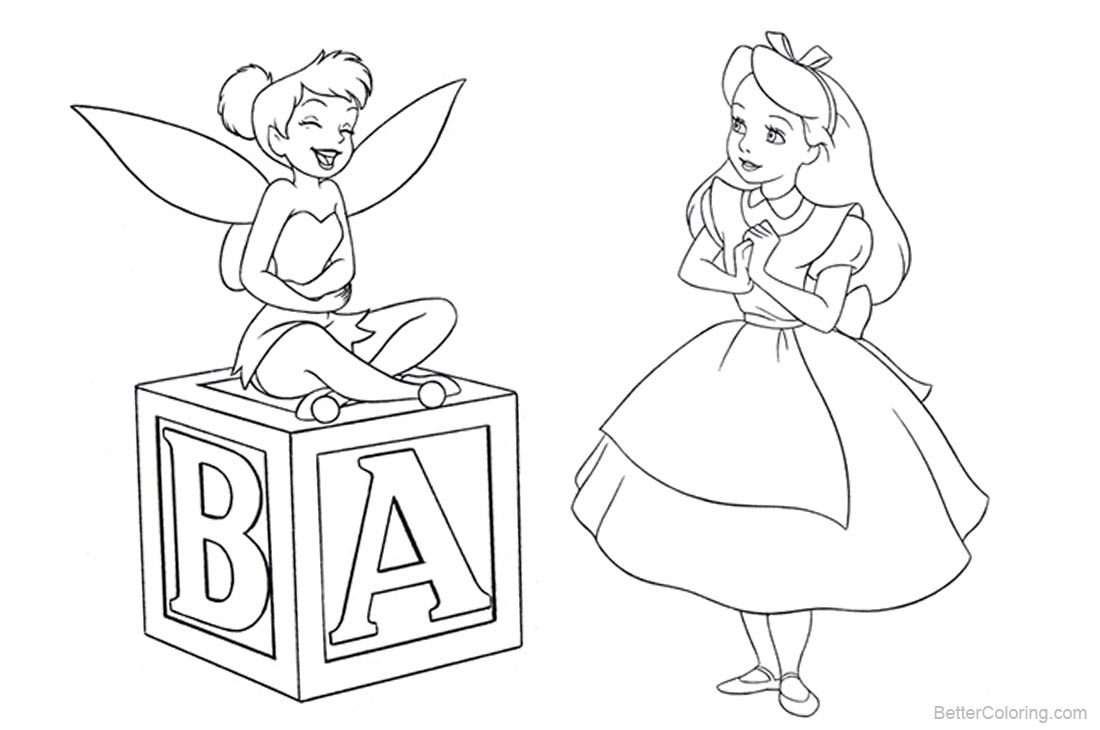 Alice in Wonderland Coloring Pages with Fairy printable for free