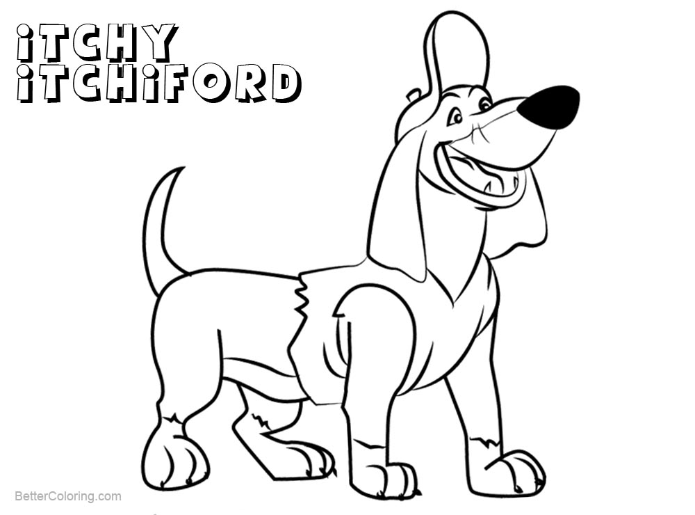 Free All Dogs go to Heaven Coloring Pages Itchy Itchiford printable for kids and adults.