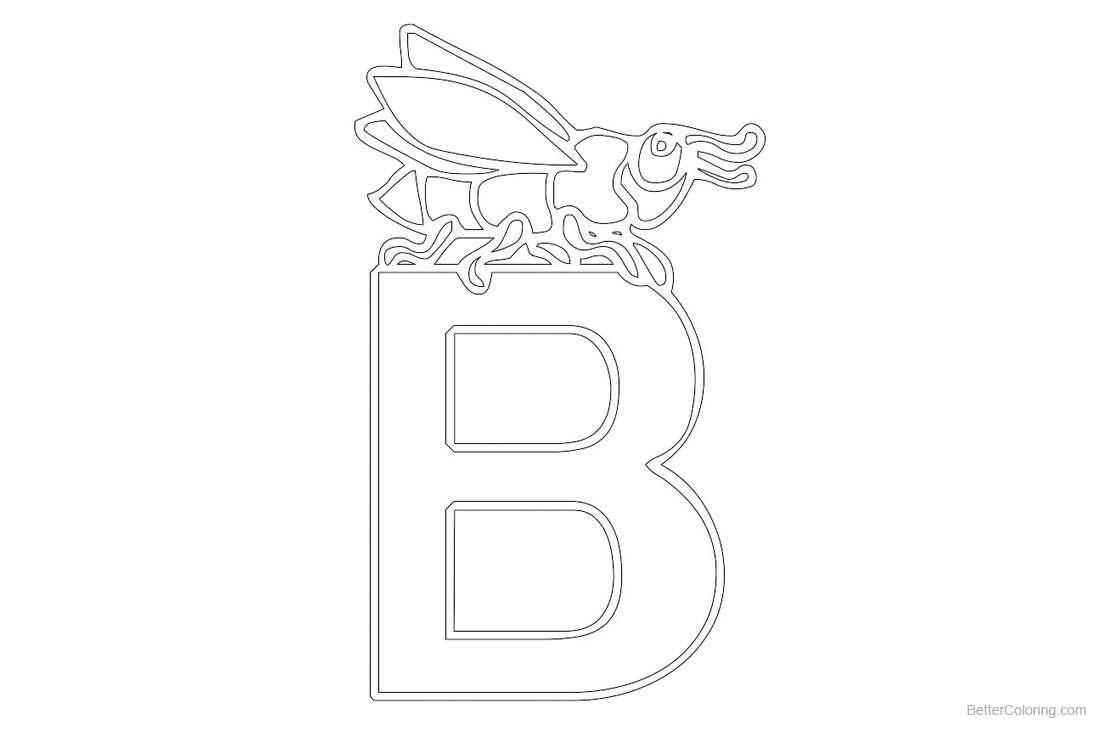 Alphabet Coloring Pages Letter B for Bug printable for free