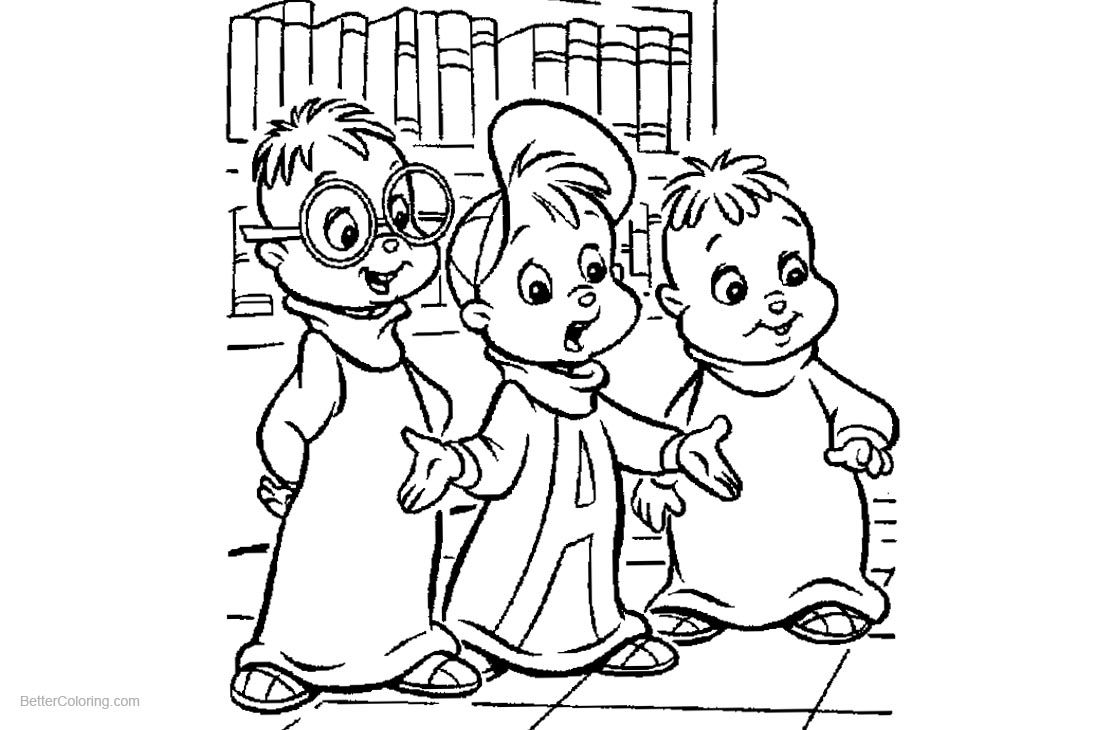 Alvin and The Chipmunks Coloring Pages Characters printable for free