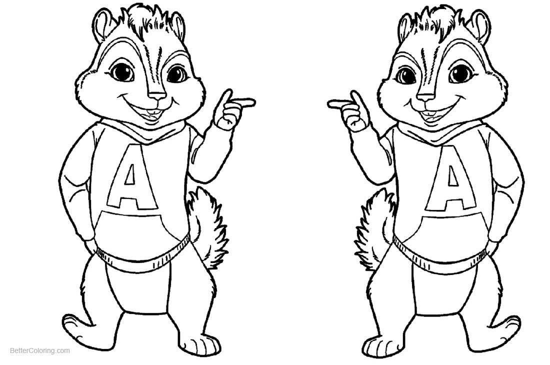 Alvin and The Chipmunks Coloring Pages Line Drawing - Free Printable ...