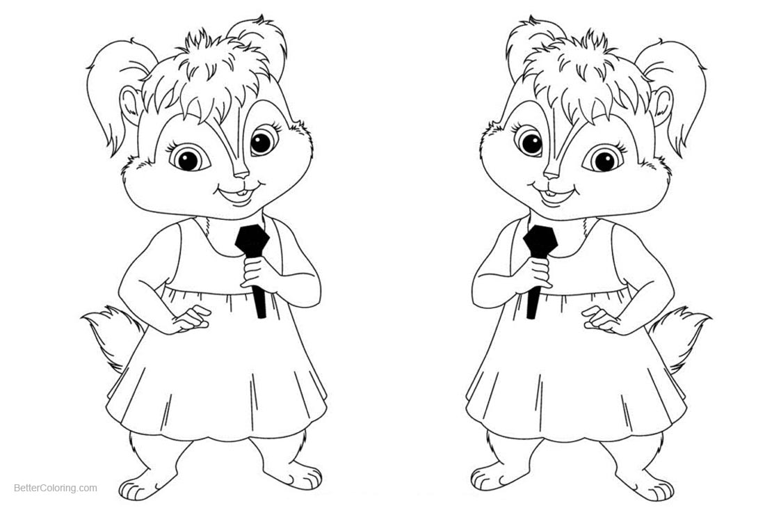 Alvin and The Chipmunks Coloring Pages Singing printable for free