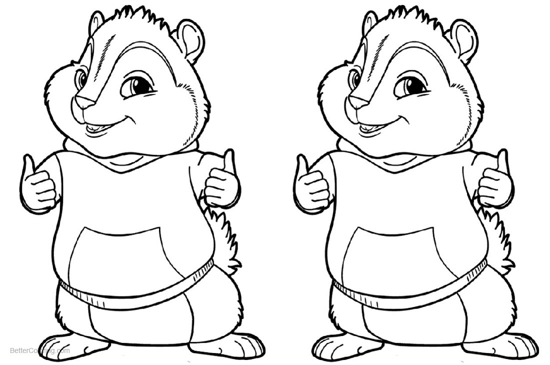 Alvin and The Chipmunks Coloring Pages printable for free