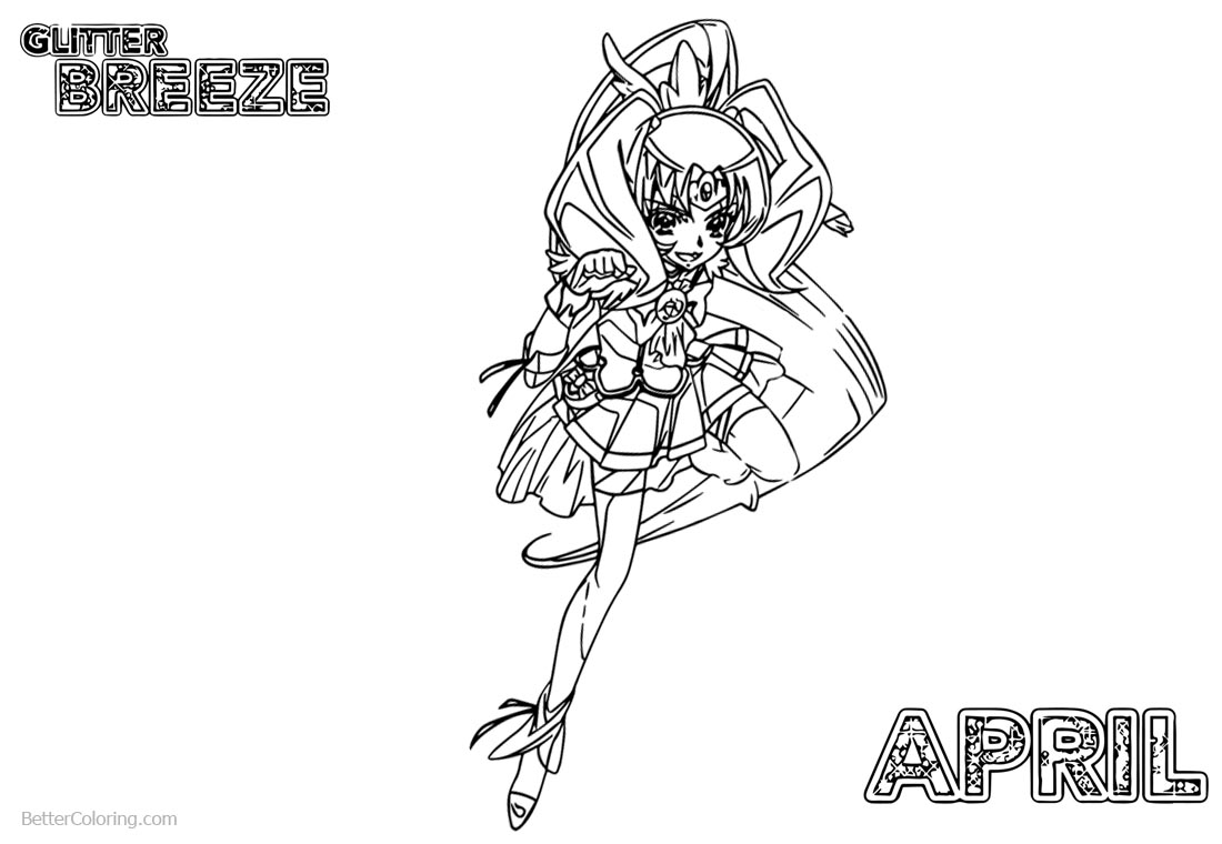 April from Glitter Force Coloring Pages Precure printable for free