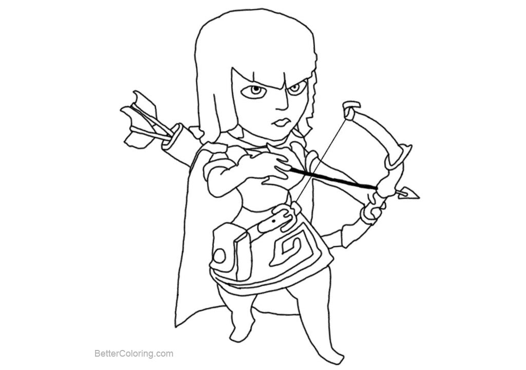 Free Archer from Clash Royale Coloring Pages printable