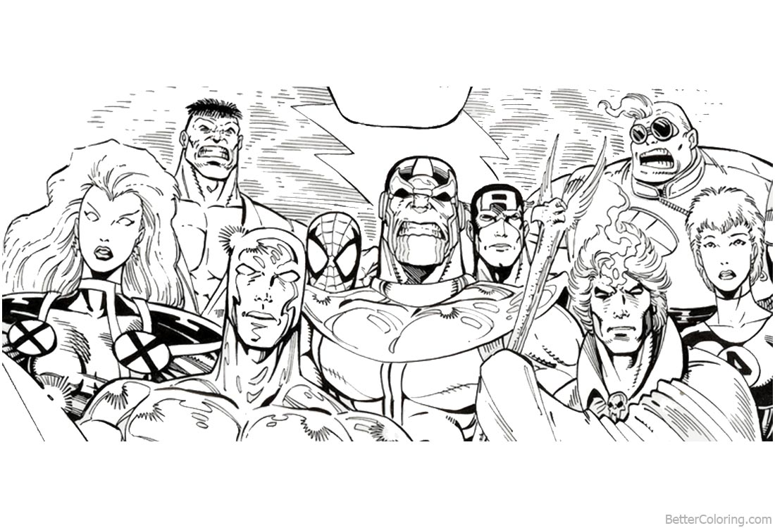 Avengers Infinity War Characters Coloring Pages Super Heros printable for free