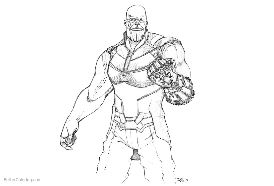 Superhero Thanos Coloring Pages: Avengers Infinity War Coloring Pages Thanos Fanart