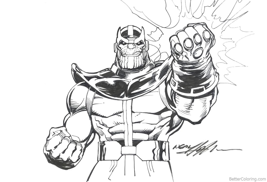 Superhero Thanos Coloring Pages: Avengers Infinity War Coloring Pages Thanos By Neal Adams