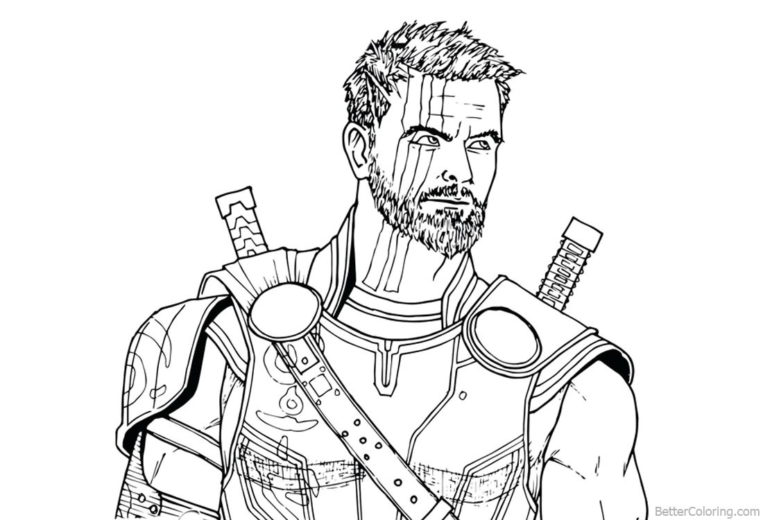 Superhero Thanos Coloring Pages: Avengers Infinity War Coloring Pages Thor Drawing