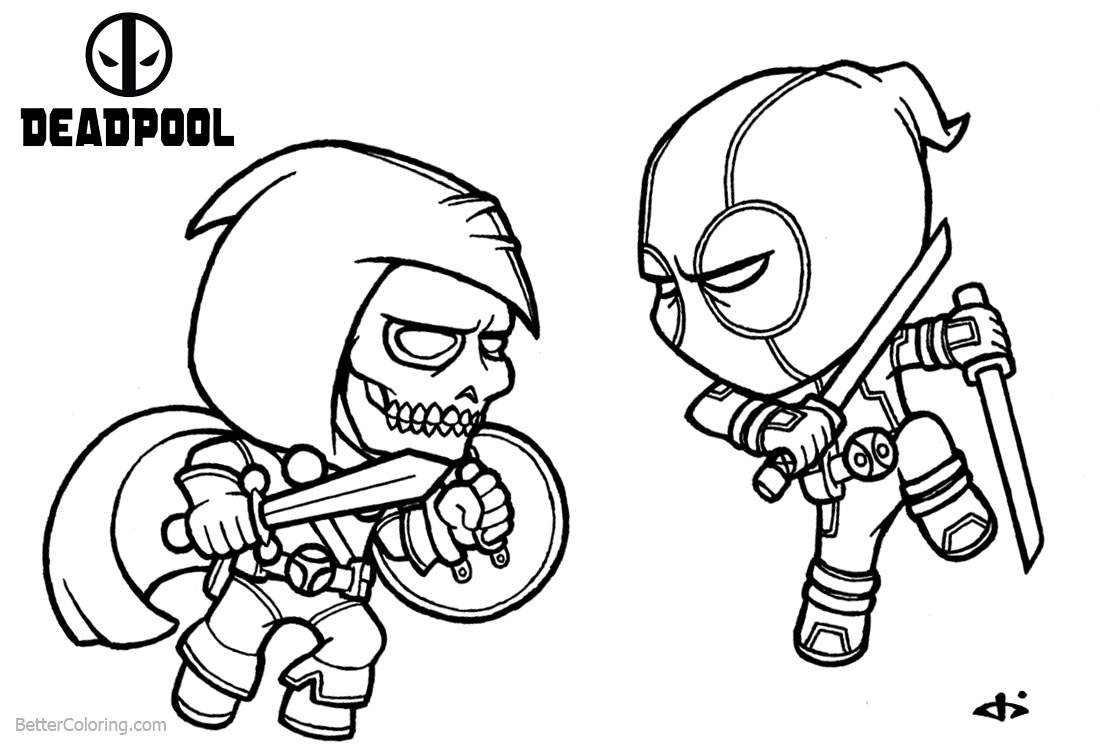 Baby Deadpool Coloring Pages Fight Against Ghost printable for free