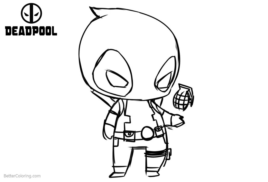 Deadpool Marvel 16 Coloring Pages Printable: Baby Deadpool Coloring Pages Hand Drawing
