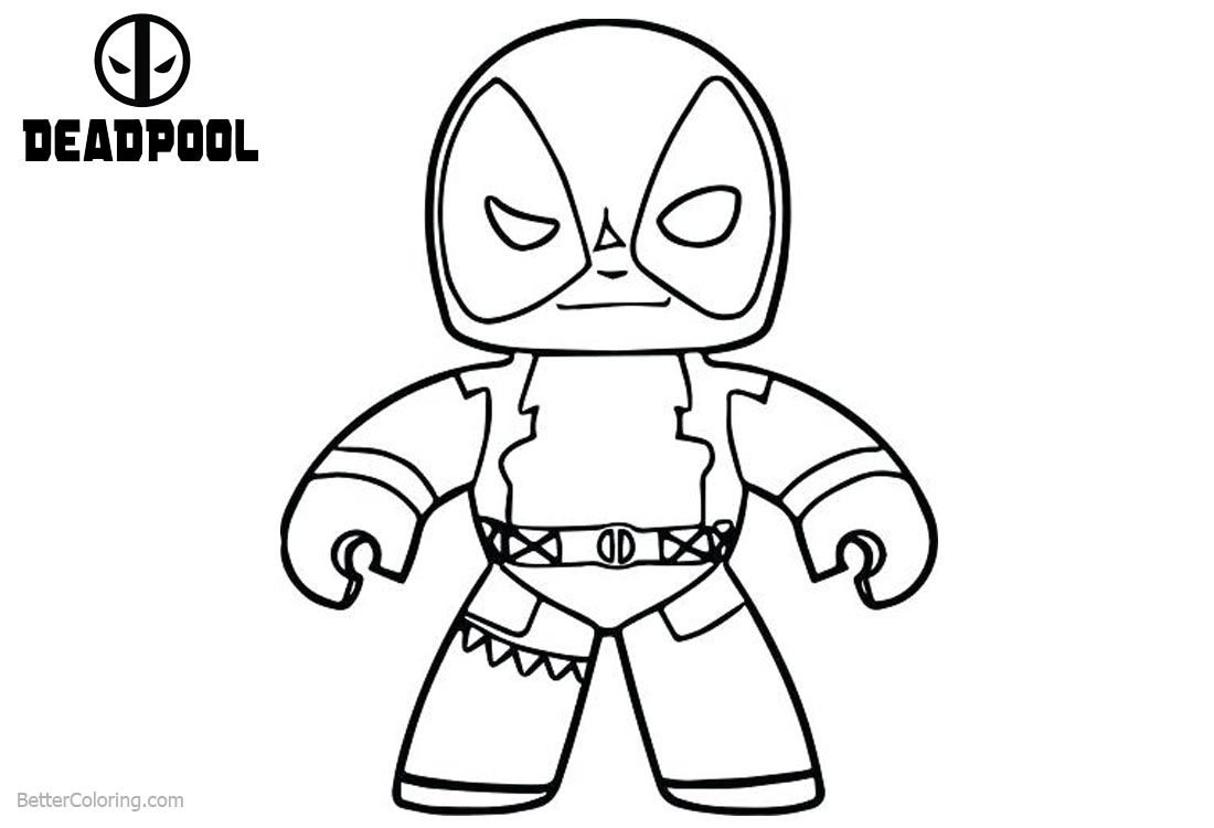 Deadpool Coloring Pages: Baby Deadpool Coloring Pages Line Art