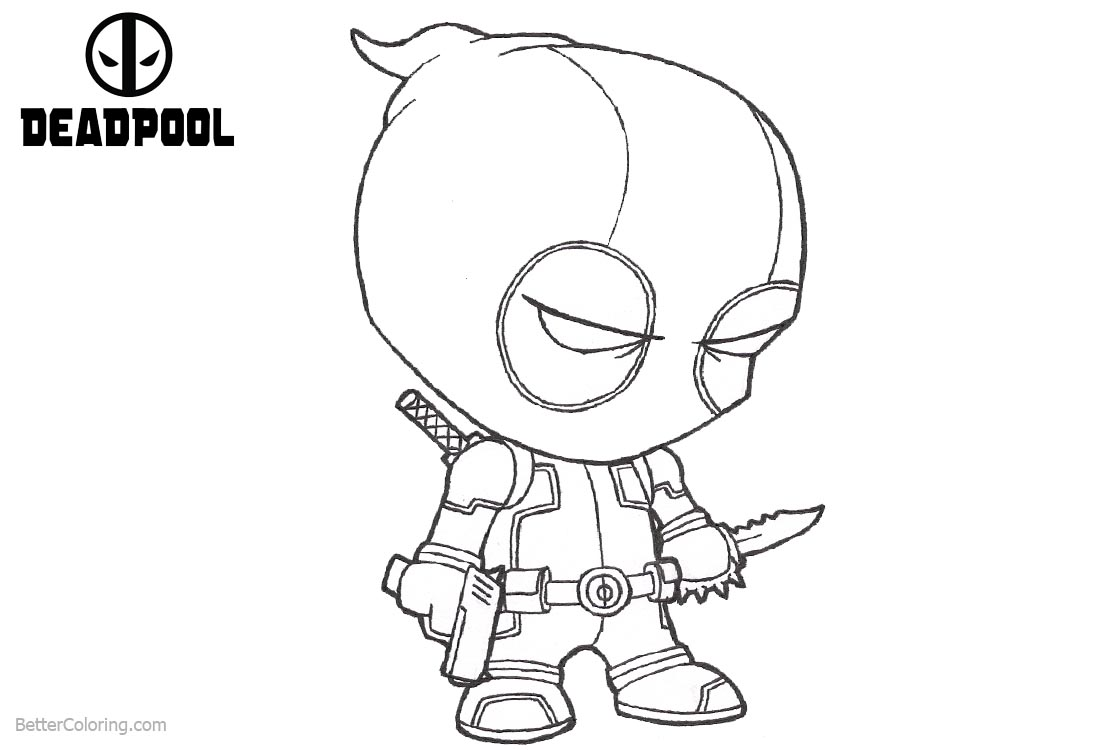 Baby Deadpool Coloring Pages Sadly printable for free