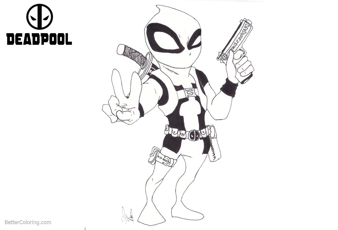 Baby Deadpool Coloring Pages Sketch printable for free