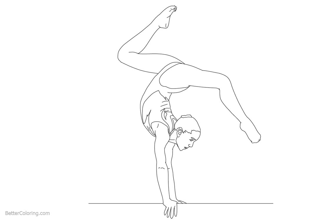 Balance Beam Gymnastics Coloring Pages printable for free