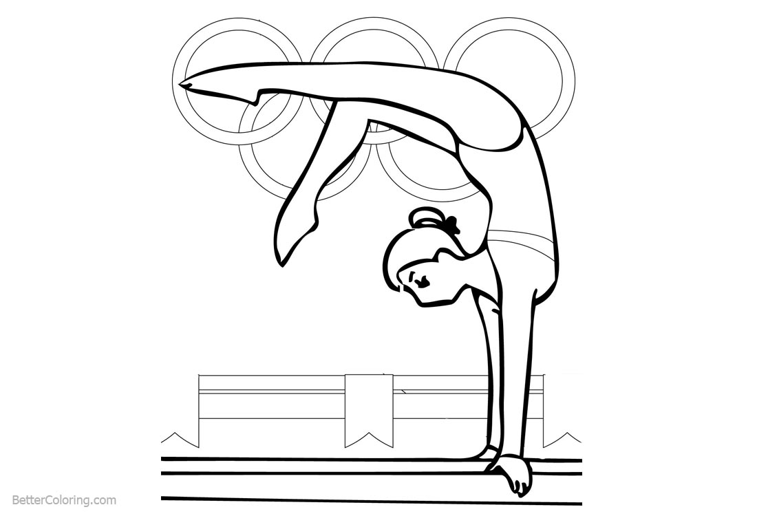 Balance Beam from Gymnastics Coloring Pages printable for free