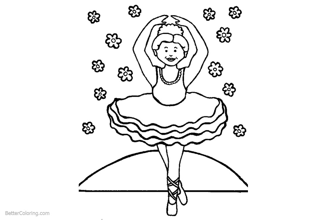 Ballet Coloring Pages Dancing with Flowers printable for free