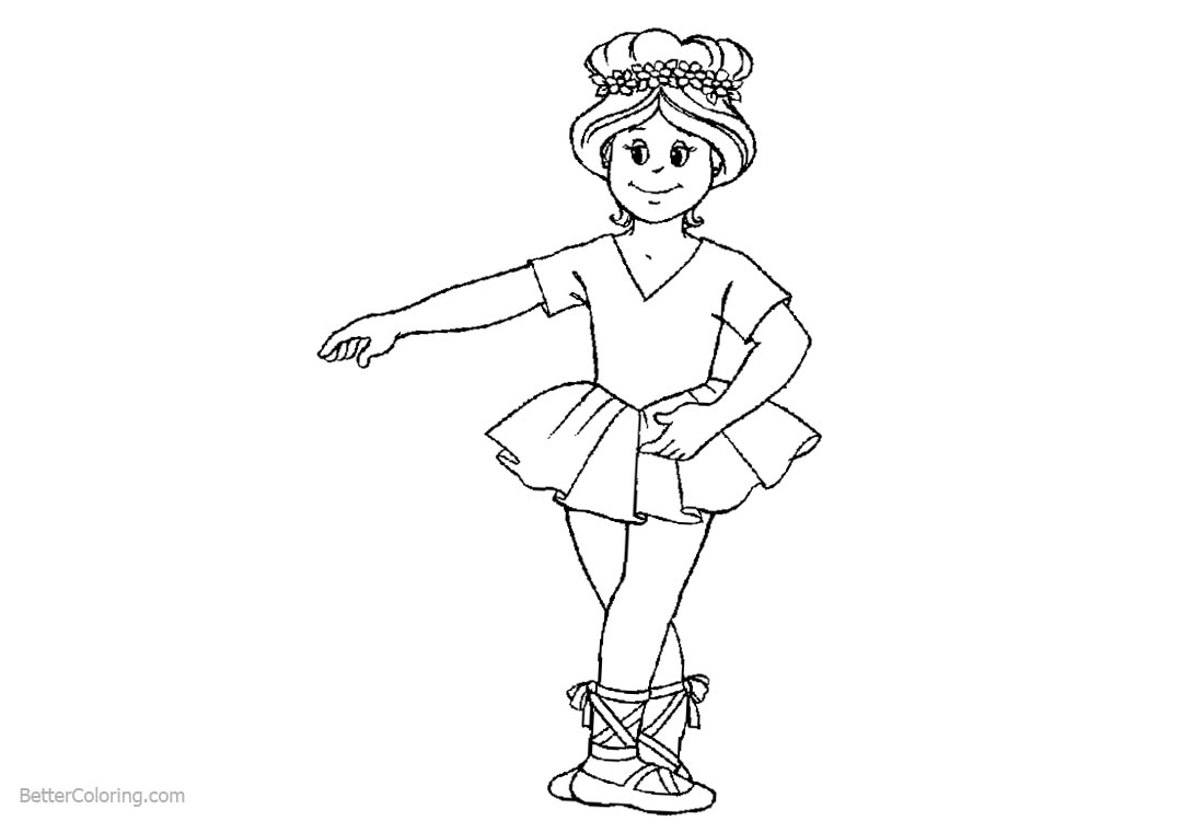 Ballet Coloring Pages Girl Dancing printable for free