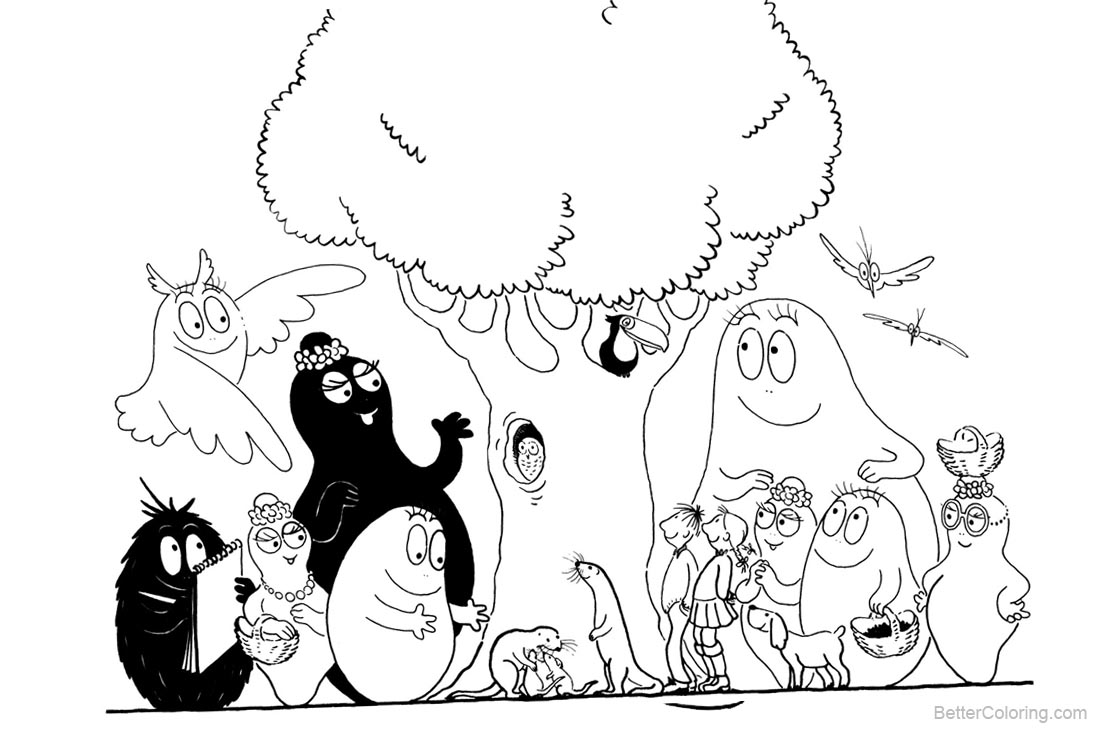 Barbapapa Coloring Pages Family Characters printable for free