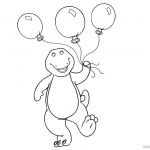 Barney Coloring Pages Balloons