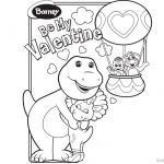 Barney Coloring Pages Be My Valentine