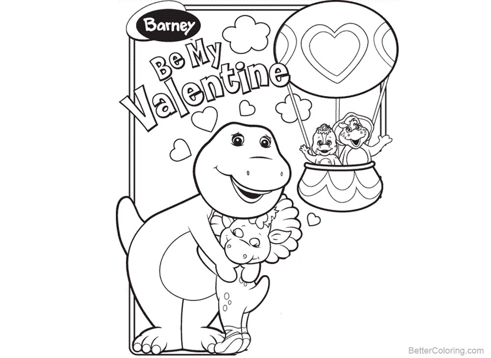 Barney Coloring Pages Be My Valentine Free Printable Coloring Pages