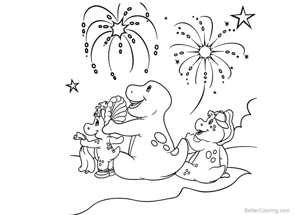 Barney Coloring Pages Beautiful Fireworks printable for free