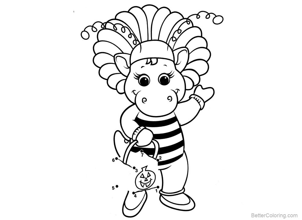 Barney Coloring Pages Bee Style printable for free