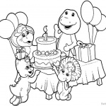 Barney Coloring Pages Birthday Party