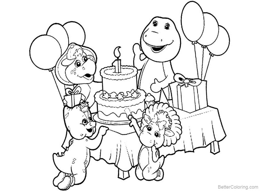Barney Coloring Pages Birthday Party printable for free