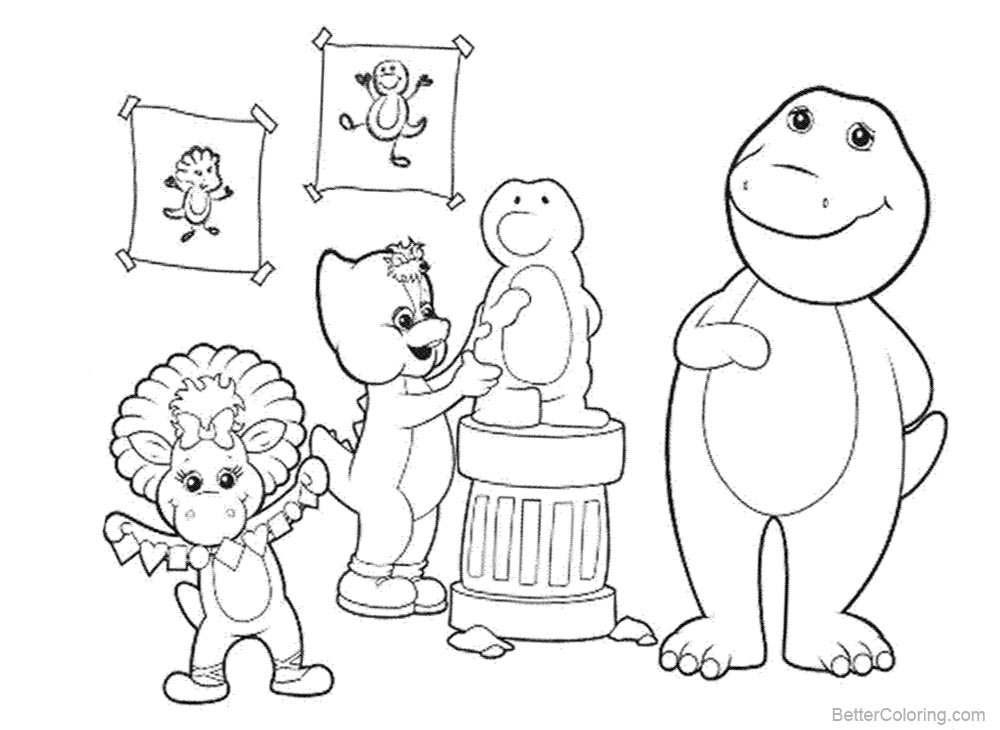 Barney Coloring Pages Black and White printable for free