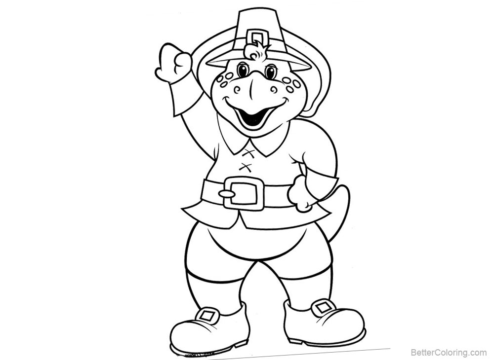 Barney Coloring Pages Bye Bye printable for free