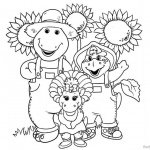 Barney Coloring Pages Characters and Sunflowers
