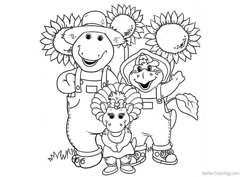 Barney Coloring Pages Characters and Sunflowers printable for free