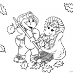 Barney Coloring Pages Clean the Leaves