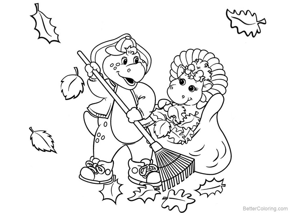 Barney Coloring Pages Clean the Leaves printable for free