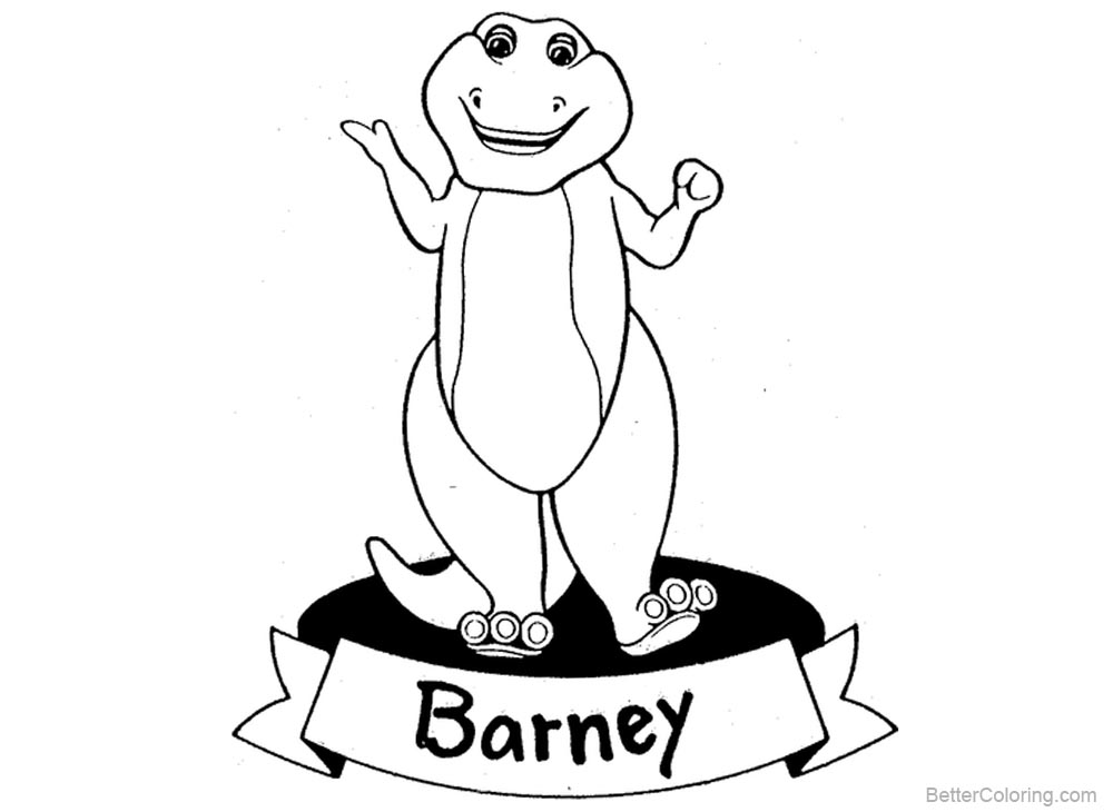 Barney Coloring Pages Clipart printable for free