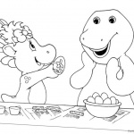 Barney Coloring Pages Color the Eggs